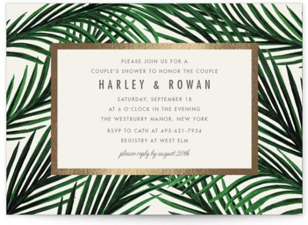 Tropical Love Foil-Pressed Bridal Shower Invitations