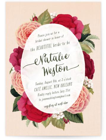 Vintage Botanicals Bridal Shower Invitations