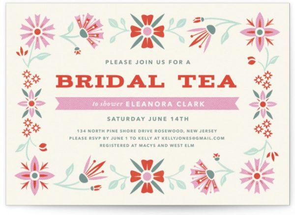 Vintage Bridal Tea Bridal Shower Invitations