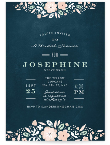 Vintage Chalk Bridal Shower Invitations