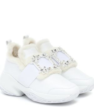 Viv' Run shearling and leather sneakers