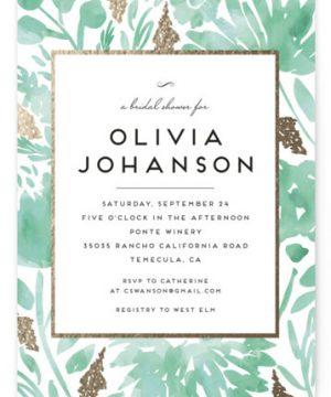 Watercolor Delight Foil-Pressed Bridal Shower Invitations