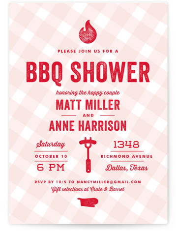 We Do BBQ Bridal Shower Invitations