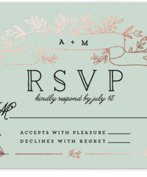 Wedding Bouquet Foil-Pressed RSVP CardsP Cards
