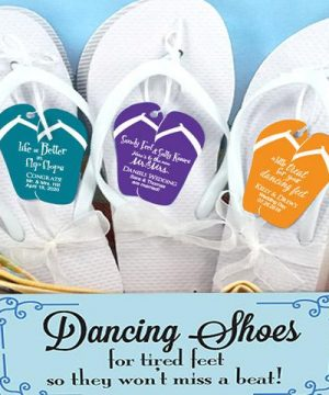 Wedding Flip Flops w/Personalized Flip Flop Tag (Black or White Available)