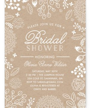 White On Kraft Bridal Shower Invitations