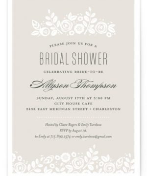 White Shadows Bridal Shower Invitations