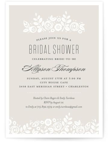 White Shadows Bridal Shower Invitations