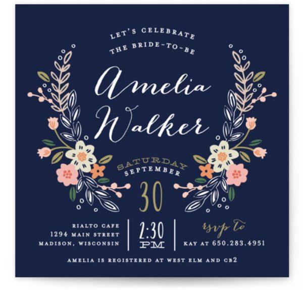 Wildflower Crest Bridal Shower Invitations