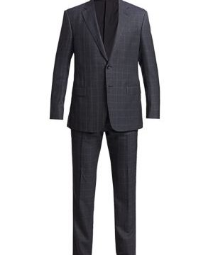 Windowpane Wool Silk Single-Breasted Suit