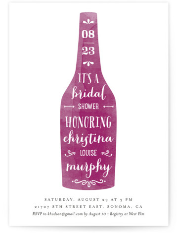 Winery Bridal Shower Invitations