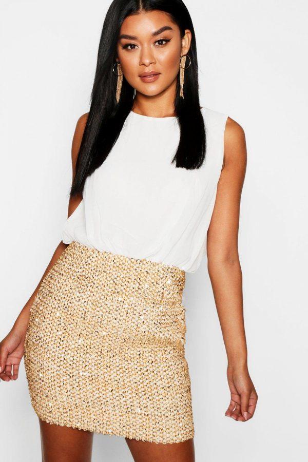 Womens 2 In 1 Chiffon Top Sequin Skirt Bodycon Dress - White - 8, White
