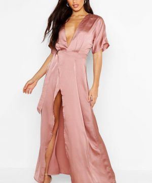 Womens Boutique Kimono Maxi Satin Bridesmaid Dress - Pink - 8, Pink