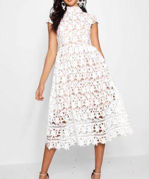 Womens Boutique Lace Midi Skater Bridesmaid Dress - White - 16, White