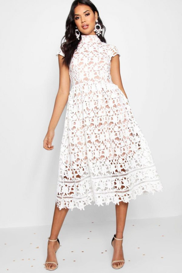 Womens Boutique Lace Midi Skater Bridesmaid Dress - White - 8, White