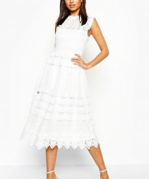 Womens Boutique Lace Skater Bridesmaid Dress - White - 8, White