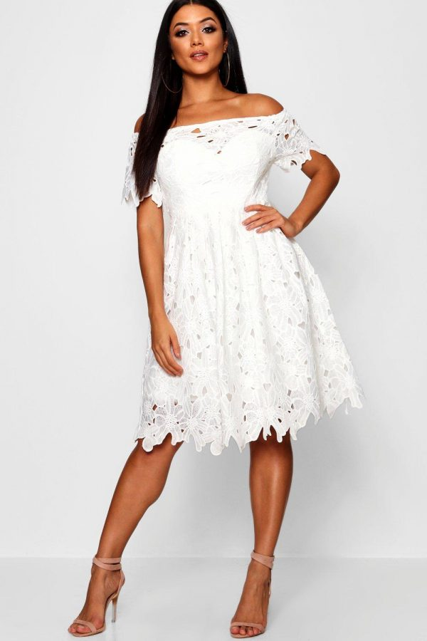 Womens Boutique Off Shoulder Lace Skater Dress - White - 8, White