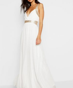 Womens Boutique Sequin Panel Maxi Bridesmaid Dress - White - 8, White