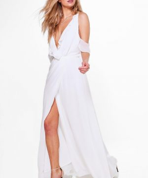 Womens Chiffon Frill Wrap Maxi Bridesmaid Dress - White - 8, White