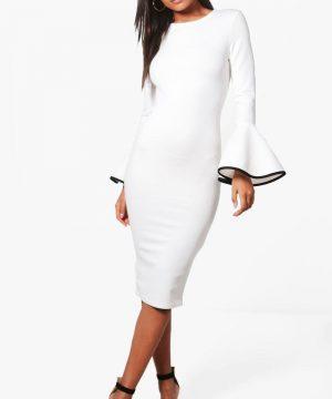 Womens Contrast Flared Sleeve Midi Dress - White - 10, White