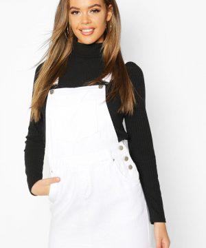 Womens Denim Dungaree Frayed Hem Pinafore Dress - White - 8, White