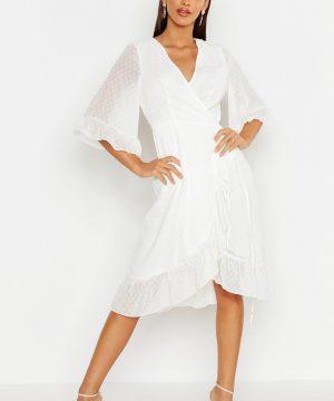 Womens Dobby Chiffon Wide Sleeve Midi Wrap Dress - White - 14, White