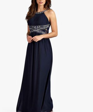 Womens Embellished Lace Chiffon Maxi Bridesmaid Dress - Navy - 10, Navy