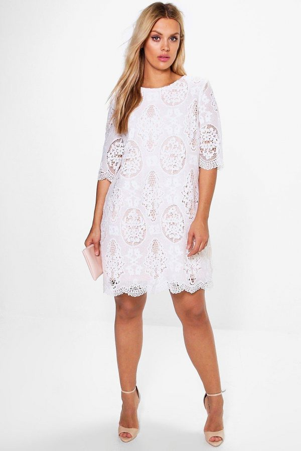 Womens Plus All Over Lace Shift Dress - White - 16, White