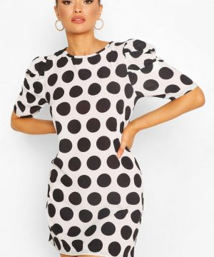 Womens Polka Dot Puff Sleeve Shift Dress - White - 8, White