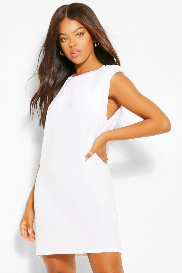 Womens Shoulder Pad Tshirt Dress - White - 8, White
