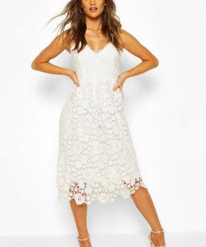 Womens Strappy Crochet Lace Skater Midi Dress - White - 8, White