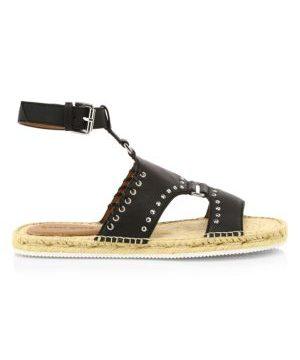 Yuna Whipstitch Flat Leather Espadrille Sandals