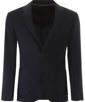 Z ZEGNA CHECK BLAZER 52 Blue, Black Wool