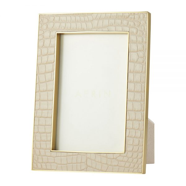 AERIN - Classic Croc Leather Photo Frame - Fawn - 4x6""