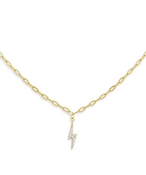 Adina's Jewels Cubic Zirconia Lightning Bolt Pendant Necklace, 16-18