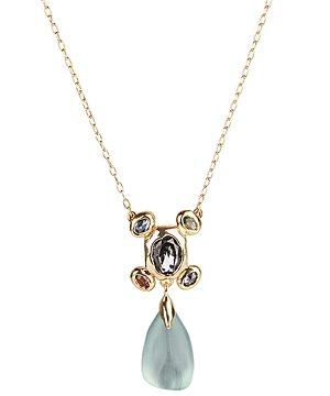 Alexis Bittar Byzantine Lucite & Stone Cluster Drop Pendant Necklace, 16
