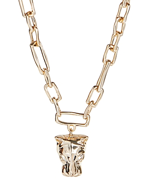 Alexis Bittar Panther Head Chain Link Pendant Necklace, 15.5