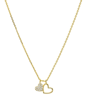 Aqua Double Heart Pendant Necklace in 14K Gold-Plated Sterling Silver or Sterling Silver, 16 - 100% Exclusive