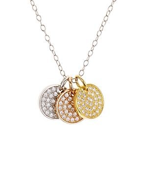 Aqua Pave Tricolor Disc Pendant Necklace in Platinum-Plated Sterling Silver, 18K Gold-Plated Sterling Silver or 18K Rose Gold-Plated Sterling Silver, 14 - 100% Exclusive