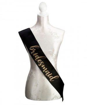 Black and Gold Satin Bridesmaid Sash