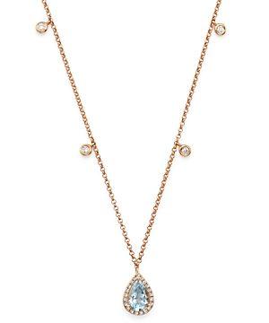 Bloomingdale's Aquamarine & Diamond Teardrop Pendant Dangle Necklace in 14K Rose Gold, 18 - 100% Exclusive