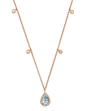 Bloomingdale's Aquamarine & Diamond Teardrop Pendant Dangle Necklace in 14K Rose Gold, 18 - 100% Exclusive