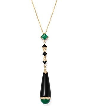 Bloomingdale's Black Onyx, Malachite & Diamond Pendant Necklace in 18K Yellow Gold, 18 - 100% Exclusive