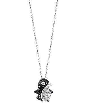 Bloomingdale's Black & White Diamond Penguin Pendant Necklace in 14K White Gold, 18 - 100% Exclusive