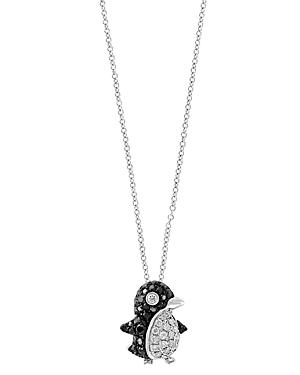 Bloomingdale's Black & White Diamond Penguin Pendant Necklace in 14K White Gold, 18 - 100% Exclusive