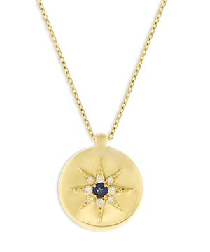 Bloomingdale's Blue Sapphire & Diamond Sun Medallion Pendant Necklace in 14K Yellow Gold, 17 - 100% Exclusive