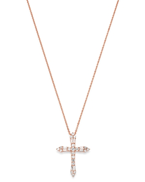 Bloomingdale's Diamond Cross Pendant Necklace in 14K Rose Gold, 17-19, 0.63 ct. t.w. - 100% Exclusive