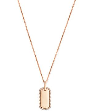 Bloomingdale's Diamond Dog Tag Pendant Necklace in 14K Rose Gold - 100% Exclusive