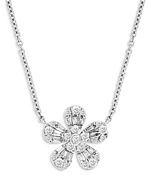 Bloomingdale's Diamond Flower Pendant Necklace in 14K White Gold, 18, 0.28 ct. t.w. - 100% Exclusive