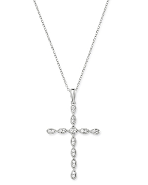 Bloomingdale's Diamond Milgrain Large Cross Pendant Necklace in 14K White Gold, 0.25 ct. t.w. - 100% Exclusive